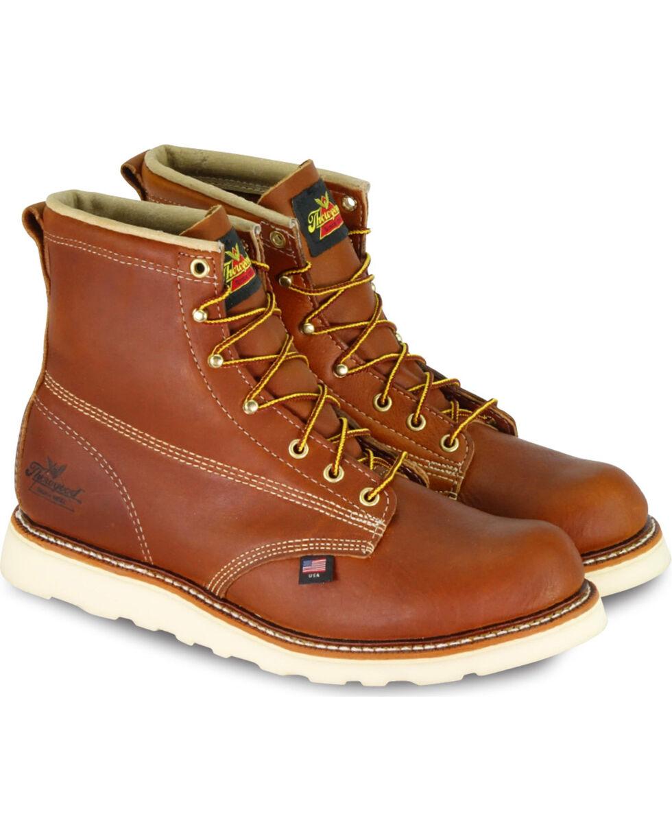 "Thorogood Men's 6"" American Heritage MAXwear Wedge Sole Work Boots - Soft Toe, Brown, hi-res"