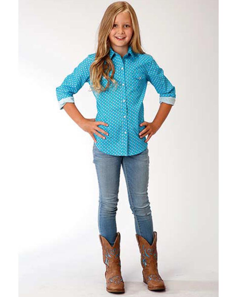 Amarillo Girls' Geo Core Long Sleeve Western Shirt , Turquoise, hi-res