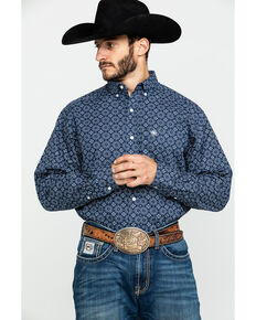 Ariat Men's Tallman Geo Print Long Sleeve Western Shirt , Blue, hi-res