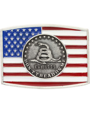 Montana Silversmiths Men's Stars and Stripes Belt Buckle , Silver, hi-res