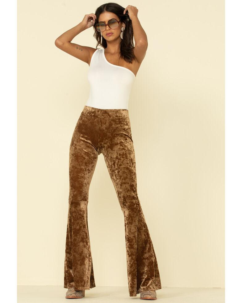 Rock & Roll Denim Women's Copper Velvet Bell Bottom Pants, Rust Copper, hi-res