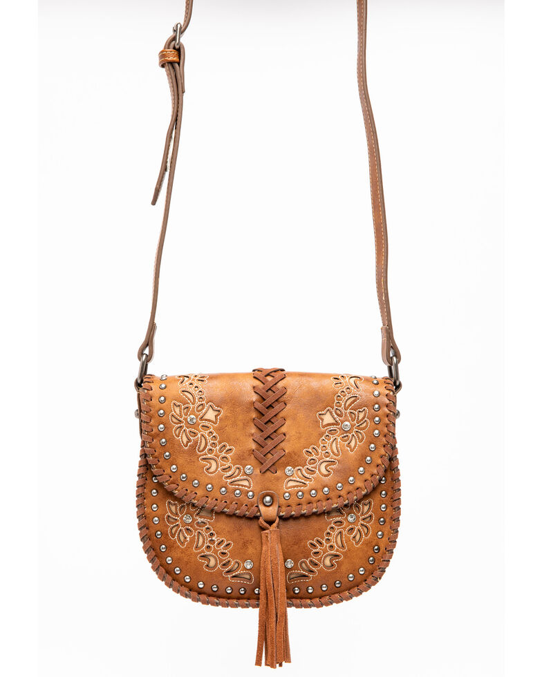 Shyanne Women's Floral Embroidery Crossbody , Cognac, hi-res