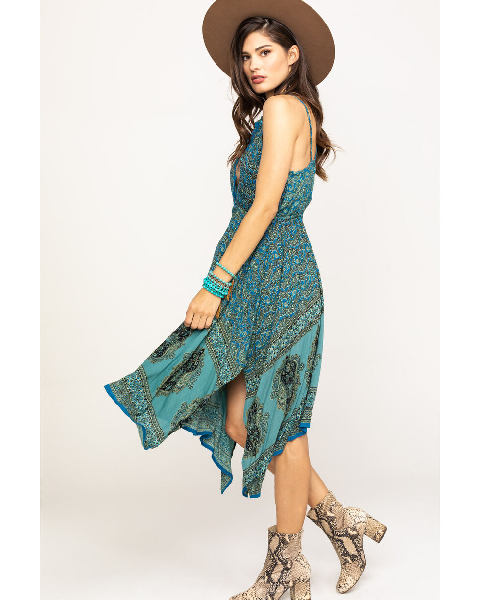 Angie Women's Blush Floral Hanky Hem Dress, Blue, hi-res