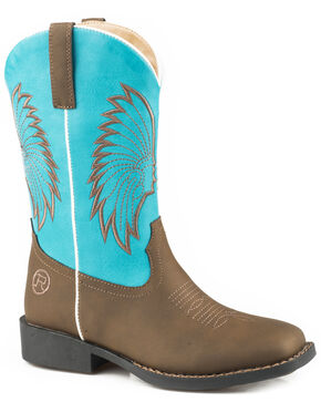Roper Youth Boys' Big Chief Cowboy Boots - Square Toe, Brown, hi-res