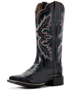 Ariat Women's Breakout Jackal Western Boots - Wide Square Toe, Black, hi-res