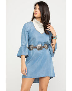 Stetson Women's Bell Sleeve Denim Dress, Blue, hi-res