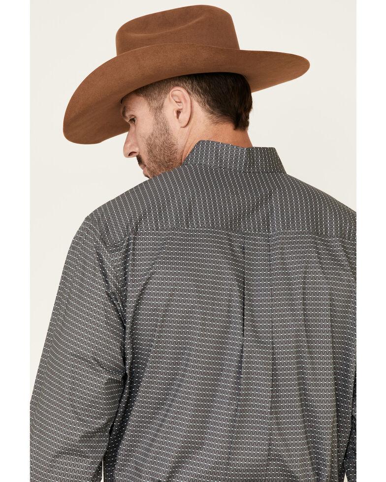 Cinch Men's Grey Stretch Geo Print Long Sleeve Western Shirt , Grey, hi-res