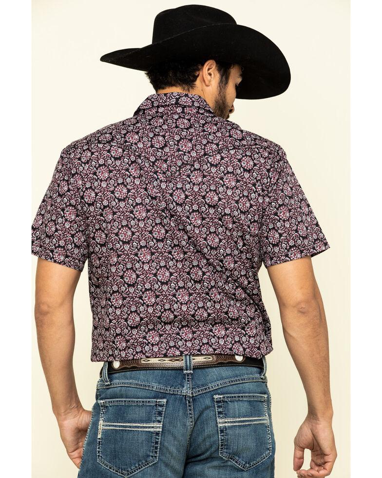 Cody James Men's Navy Floral Geo Print Short Sleeve Western Shirt , Navy, hi-res