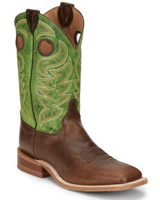 Justin Men's Clinton Taupe Western Boots - Wide Square Toe, Taupe, hi-res