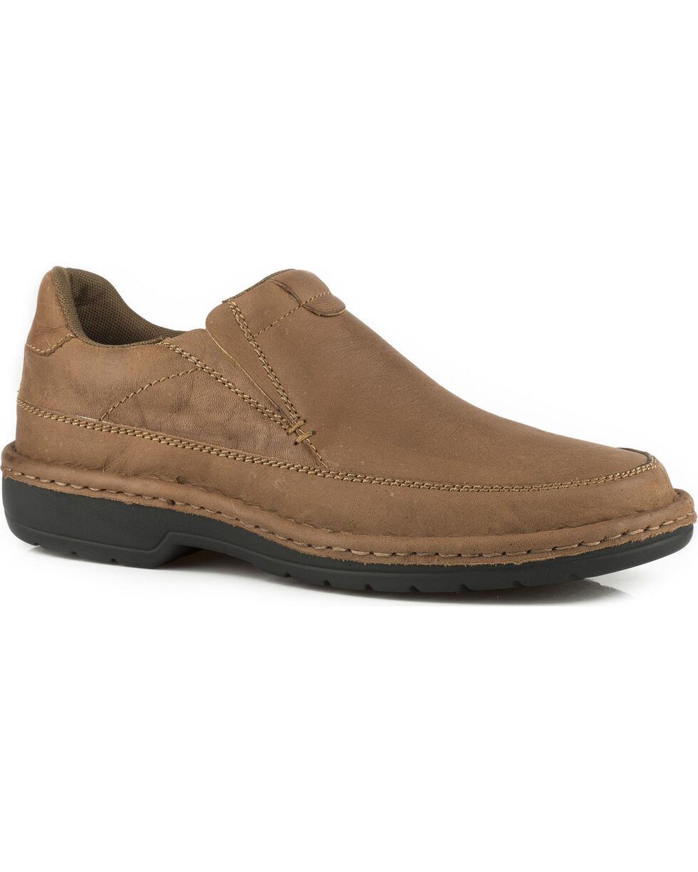 Roper Men's Brown Comfort Flex Buffalo Leather Shoes , Brown, hi-res