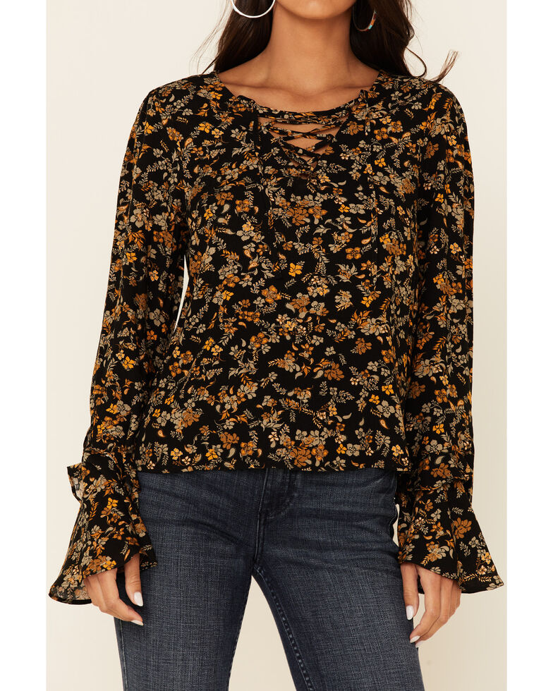 Idyllwind Women's Rogue Floral Print Lace Up Long Sleeve Peasant Top , Black, hi-res