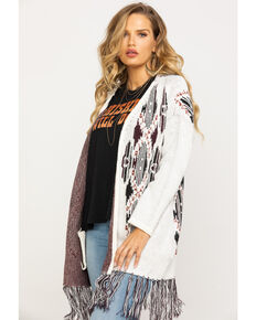 Shyanne Women's Aztec Over-sized Fringe Cardigan, Ivory, hi-res