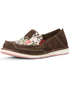 Ariat Women's Suede Leopard Rose Slip-On Shoes - Moc Toe, Chocolate, hi-res