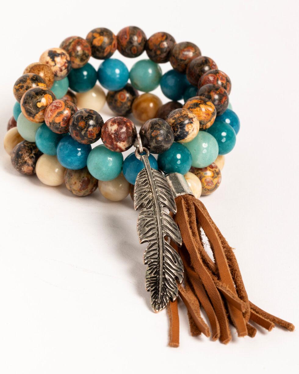 Idyllwind Women's Feather Charm 3 Bracelet Stack, Multi, hi-res