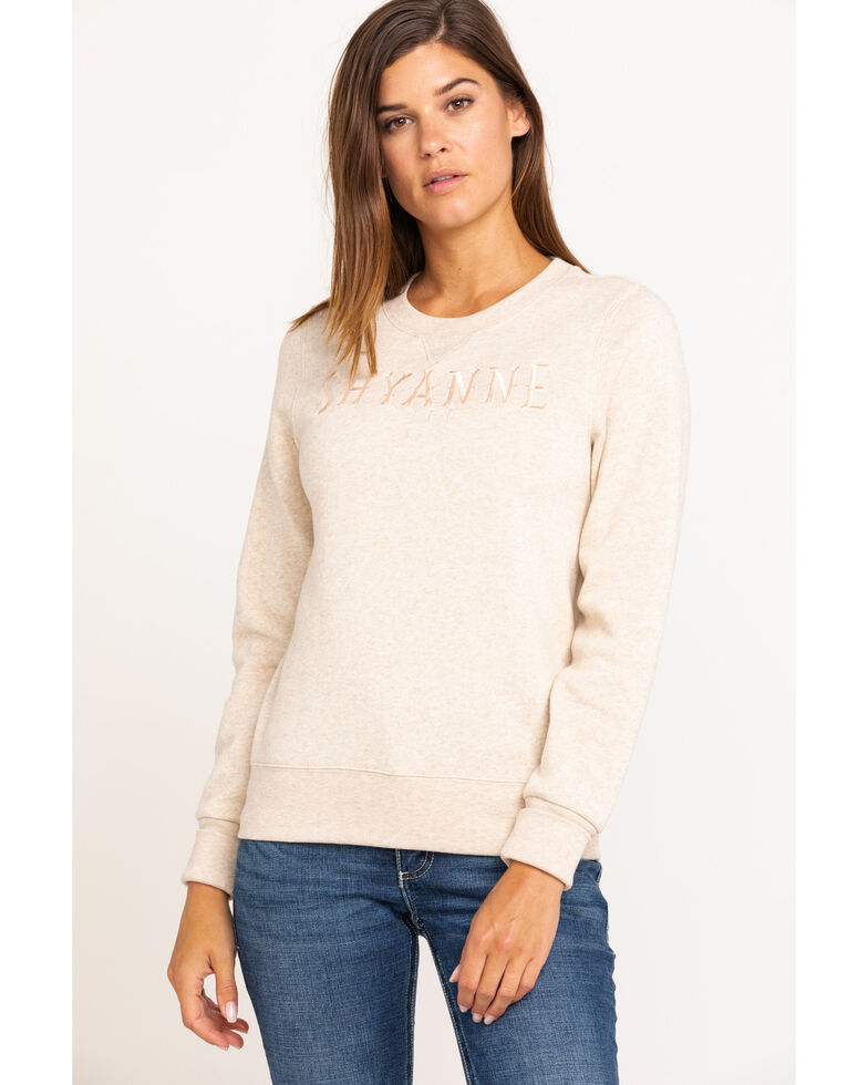 Shyanne Life Women's Logo Crew Pullover, Oatmeal, hi-res