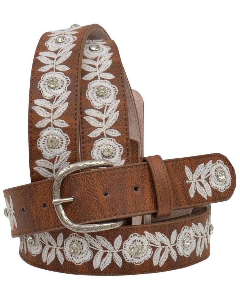 Shyanne Women's White Floral Embroidered Belt, Brown, hi-res