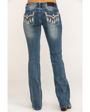 Grace In LA Women's Feather Flap Pocket Low Boot Jeans , Indigo, hi-res