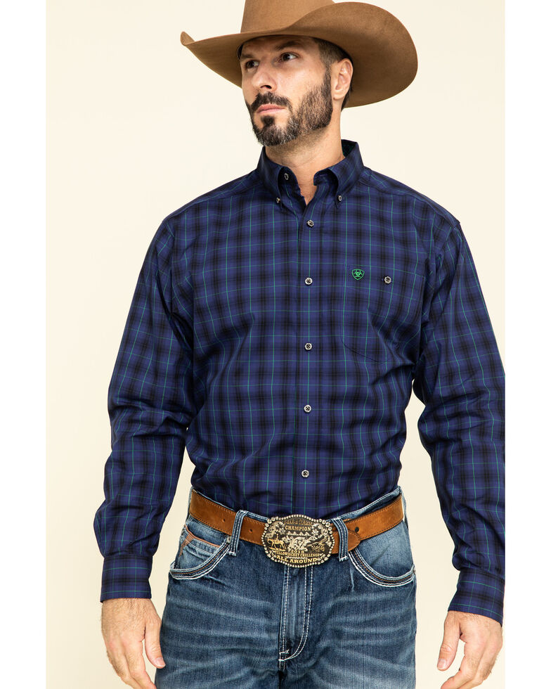 Ariat Men's Relentless Dedicated Stretch Plaid Long Sleeve Western Shirt , Blue, hi-res