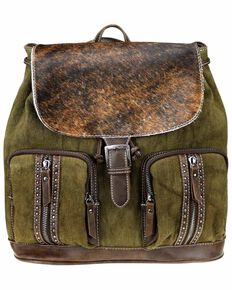 Montana West Women's Cowhide Backpack, Coffee, hi-res