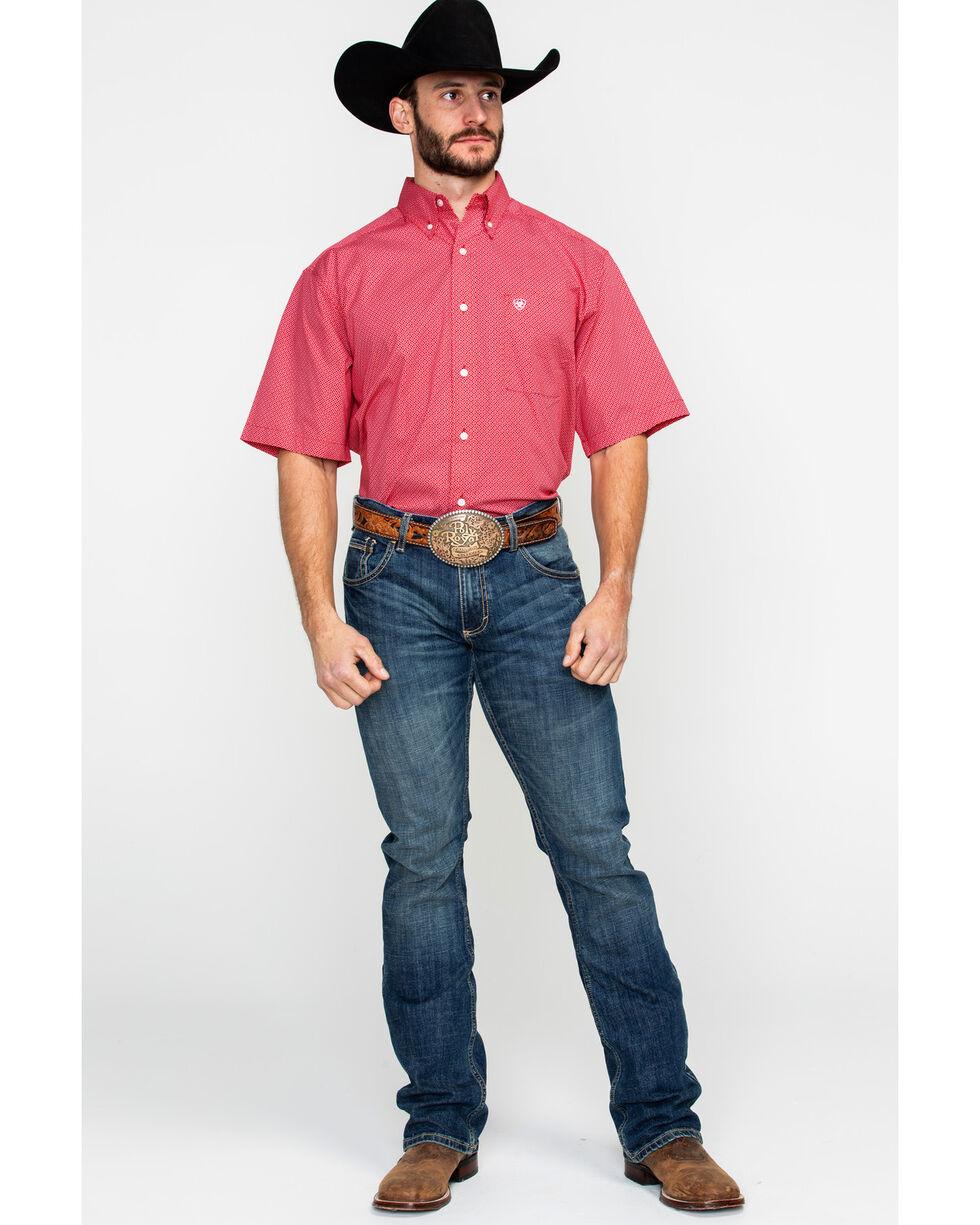 Ariat Men's Gatewood Stretch Geo Print Short Sleeve Western Shirt , Red, hi-res