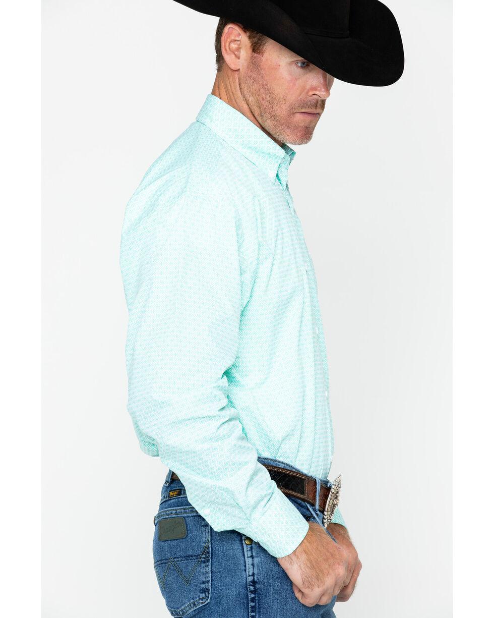 George Strait by Wrangler Men's Pattern Long Sleeve Western Shirt , Green, hi-res