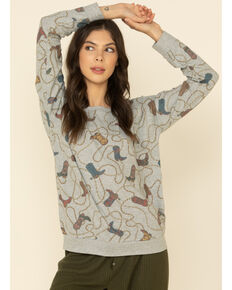 PJ Salvage Women's Heather Grey Cowgirl Boots Print Pullover Top, Heather Grey, hi-res