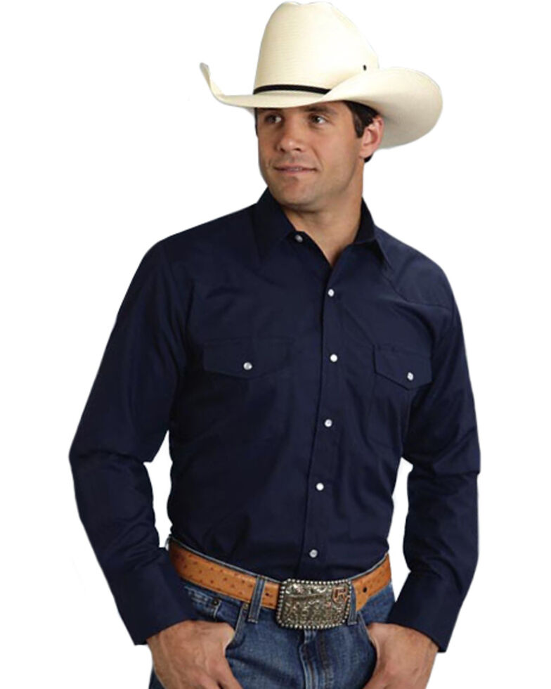 Roper Men's Broadcloth Solid Long Sleeve Western Shirt, Navy, hi-res