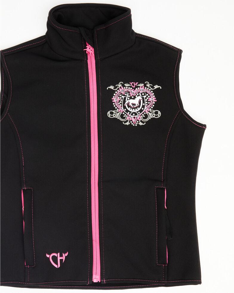 Cowgirl Hardware Girls' Black Cowgirl Ranch Softshell Vest, Black, hi-res