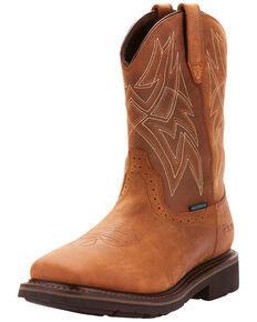 Ariat Men's Everett Waterproof Western Work Boots - Soft Toe, Brown, hi-res