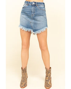 Free People Women's Light Wash Bailey Mini Skirt, Blue, hi-res
