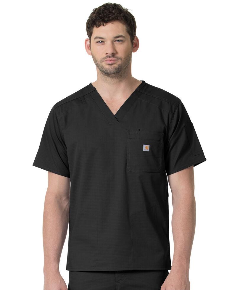 Carhartt Men's Slim Fit Six Pocket V-Neck Scrub Top, Black, hi-res