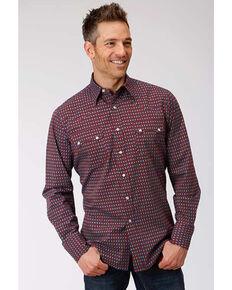 Roper Men's West Made Octo Geo Print Long Sleeve Western Shirt , Red, hi-res