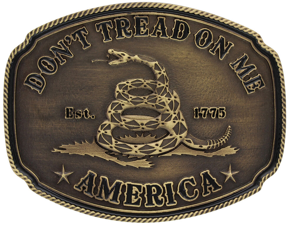 Montana Silversmiths American Gadsden Don't Tread On Me Heritage Attitude Belt Buckle, Gold, hi-res