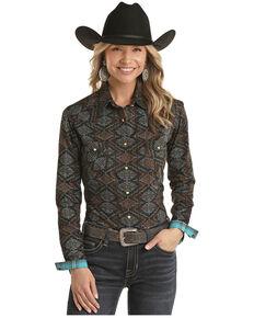 Panhandle Women's Multi Aztec Print Long Sleeve Western Shirt - Plus, Multi, hi-res