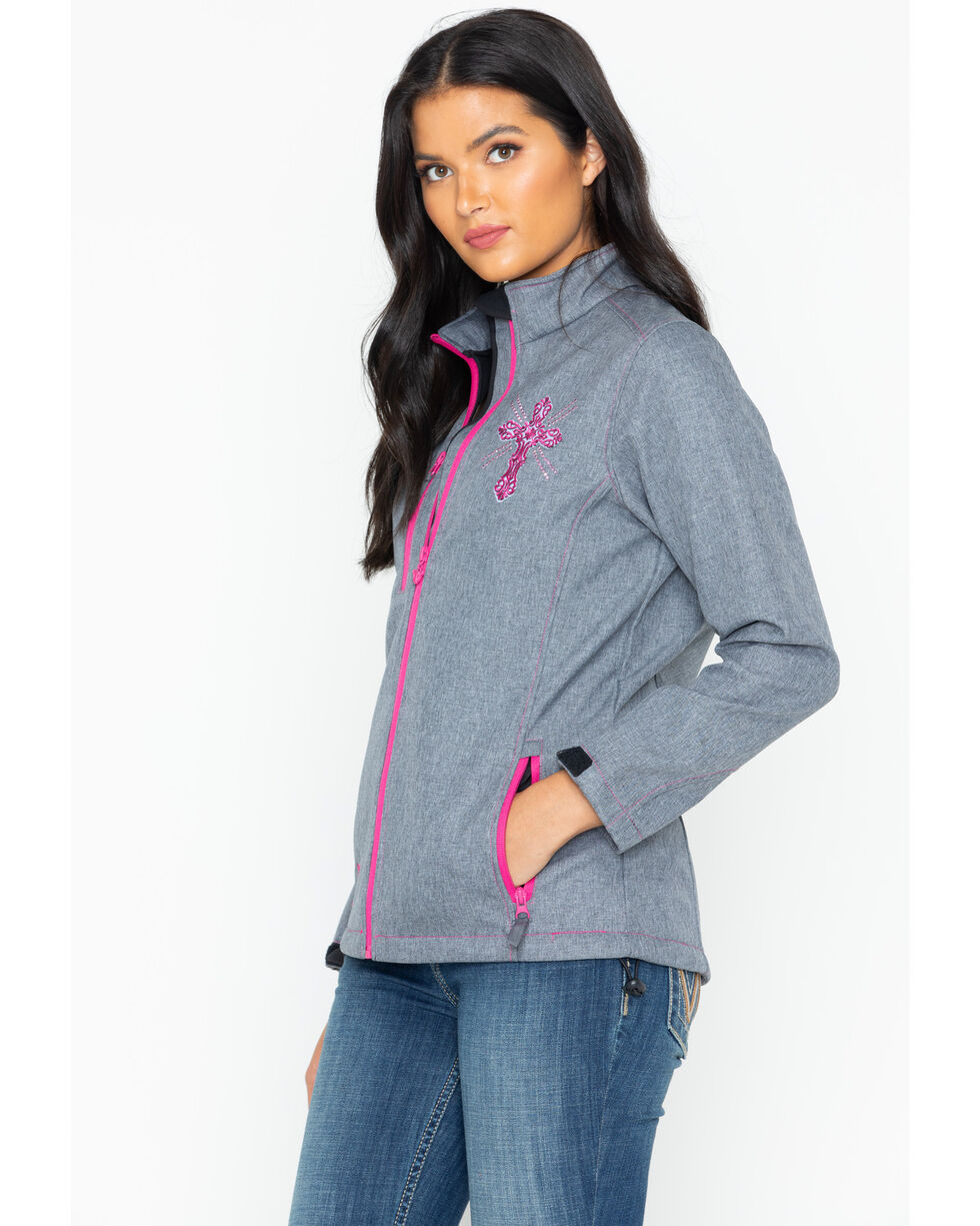 Cowgirl Hardware Women's Swirl Cross Poly Shell Jacket, Grey, hi-res
