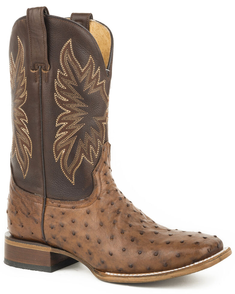 Stetson Men's Brown Rawhide Full Quill Ostrich Boots - Square Toe, Brown, hi-res