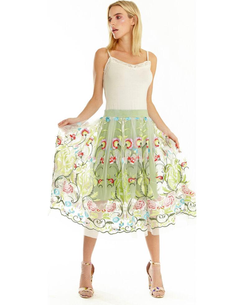 Aratta Women's Abigail Embroidered Skirt , Green, hi-res