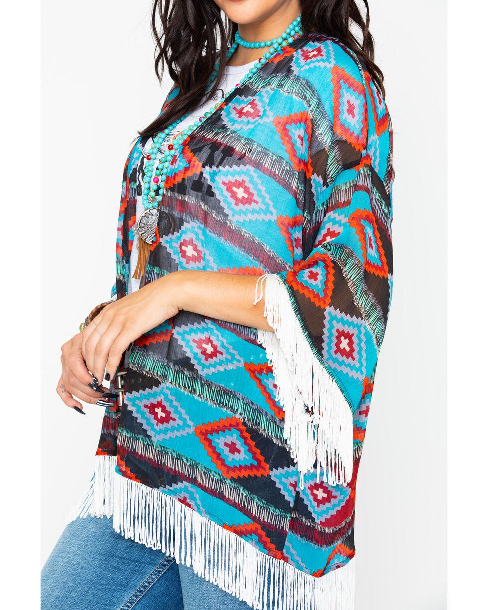 Rock & Roll Cowgirl Women's Aztec Print Fringe Kimono , Black, hi-res