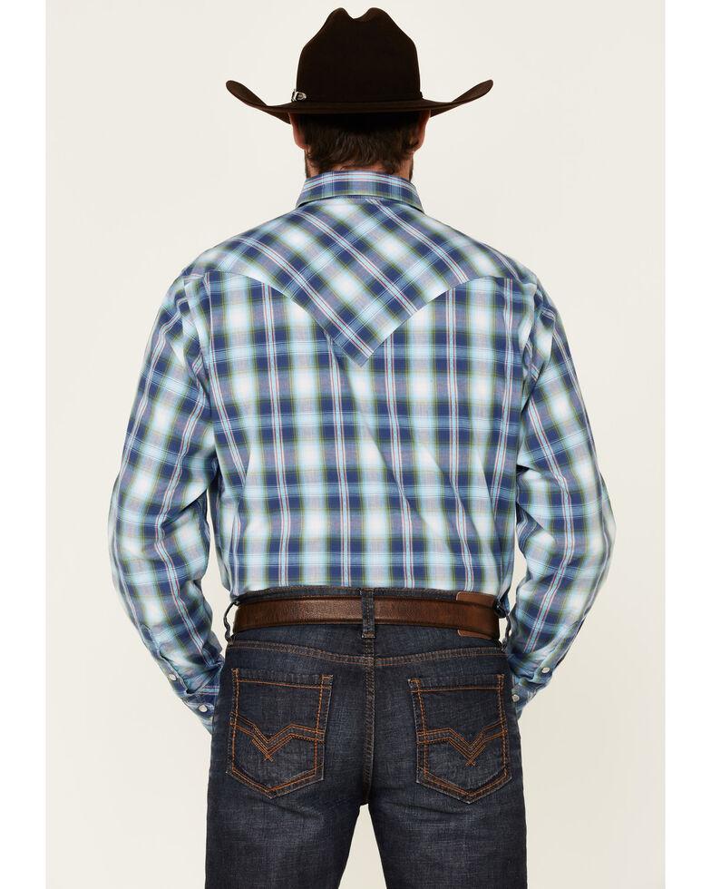 West Made Men's Blue Dobby Plaid Long Sleeve Snap Western Shirt , Blue, hi-res