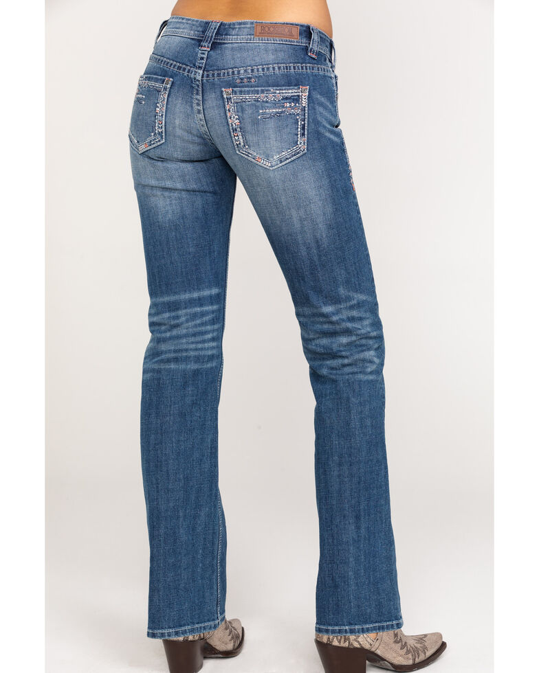 Rock & Roll Cowgirl Women's Scattered Embroidery Riding Boot Cut Jeans, Blue, hi-res