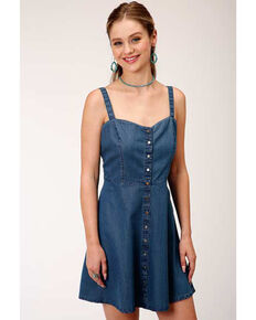Five Star Women's Denim Fit & Flare Dress, Blue, hi-res