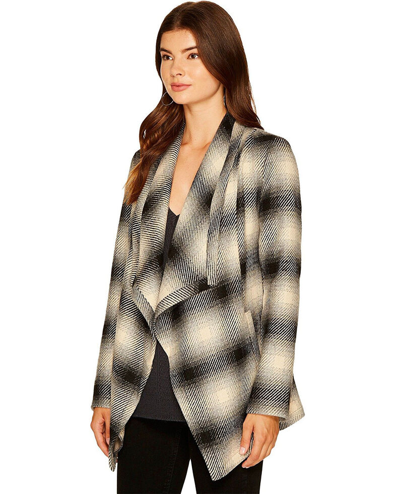 Jack Women's Mower Light Plaid Drape Front Jacket, Grey, hi-res