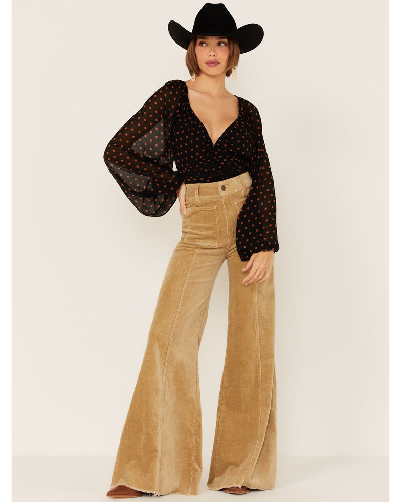 Beyond The Radar Women's Rust Dot Cinch Front Long Sleeve Top , Black, hi-res