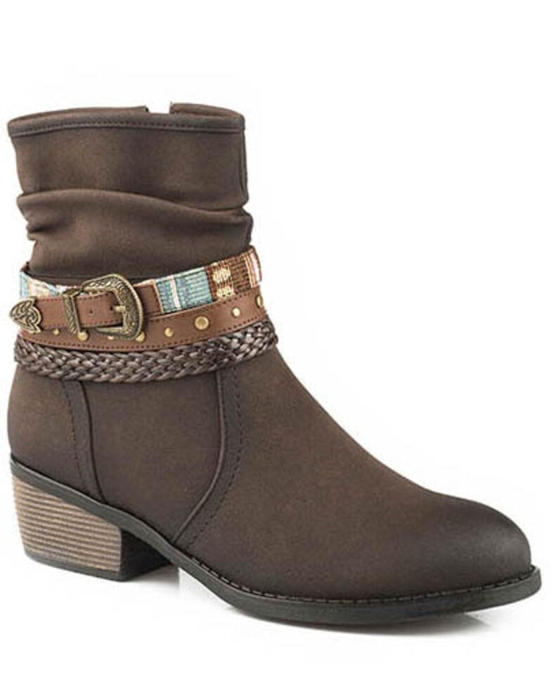Roper Women's Libbie Fashion Booties - Round Toe, Brown, hi-res