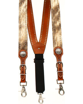 Nocona Men's Round Concho Suspenders , Tan, hi-res