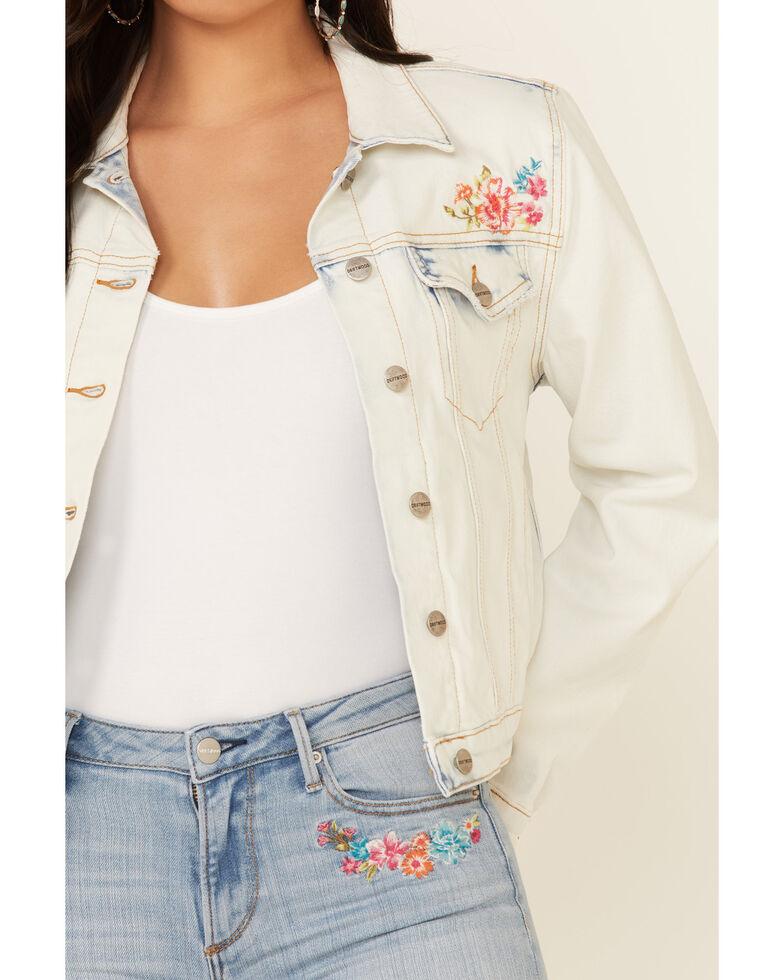 Driftwood Women's Light Wash Flower Power Button-Front Crop Denim Jacket, Blue, hi-res