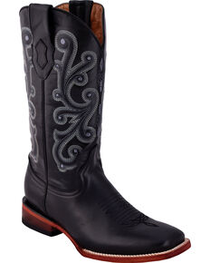 Ferrini Men's French Calf Black Cowboy Boots - Square Toe, Black, hi-res