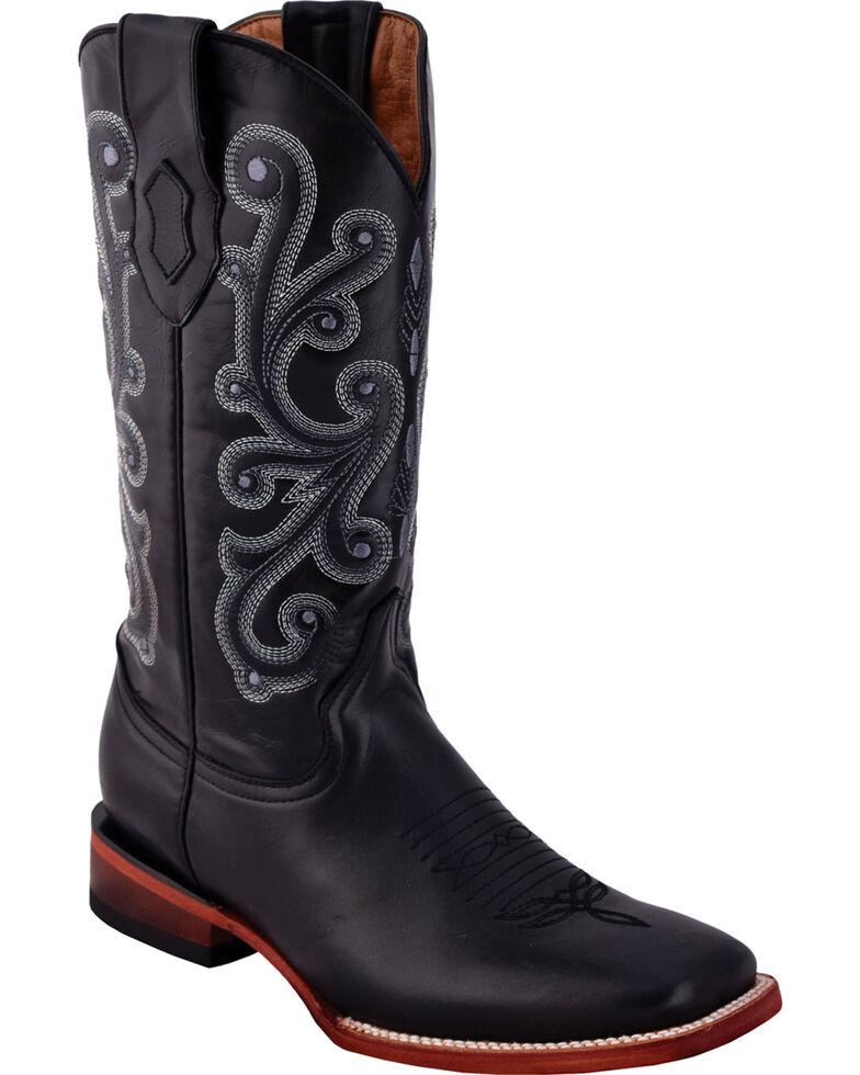 Ferrini Men's French Calf Black Cowboy Boots - Square Toe, Black, hi-res