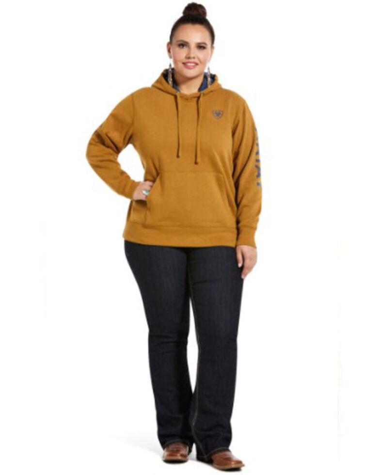 Ariat Women's Bronze Brown R.E.A.L. Arm Logo Hoodie Sweatshirt - Plus, , hi-res