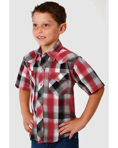 Roper Boys' Performance Multi Plaid Short Sleeve Western Shirt , Grey, hi-res